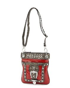 Red Western Solid & Animal Pattern Buckle Accent « Clothing Impulse