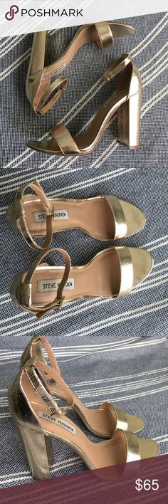 Steve Madden Carrson heel Gold Steve Madden Carrson heel worn once for a wedding. In great condition. 4 inch heel Steve Madden Shoes Heels