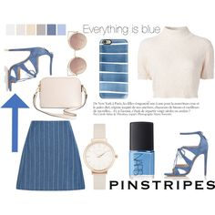 How To Wear Cream and blue pinstripes Outfit Idea 2017 - Fashion Trends Ready To Wear For Plus Size, Curvy Women Over 20, 30, 40, 50