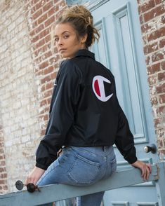 All Eyes On The Champion Cropped Coaches Jacket and Jersey Dress - Cropped - Ideas of Cropped - All Eyes On The Champion Cropped Coaches Jacket and Jersey Dress White Champion Hoodie, Champion Gear, Champion Shoes, Champion Jacket, Champion Brand, Hot Outfits, Fashion Outfits, Fashion Edgy, Fashion Black