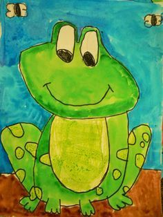 "1st Grade Frog Project:""We drew and painted frogs and then wrote frog facts. Each student chose a fact for our class book. I took a picture of their art, recorded each students voice in the Chatterkid app and then uploaded them to the Book Creator app. They are two very to use apps and the students LOVED the video. They wanted to watch it a hundred times. Here is our class book video (via link)"""