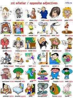 İngilizce zıt anlamlı kelimeler / Opposite words İngilizce zıt anlamlı kelimeler arasında, günlük hayatta en çok kullanılanları sizler için derledik. Eş anlamlı, zıt anlamlı kelimeler dilin kullanımı içinde oldukça önemlidir, bu kelimeleri ezberlemenizi öneriyoruz.  #ingilzice #opposite #Oppositewords #zıt #zıtkelimeler #english #turkish #türkçe