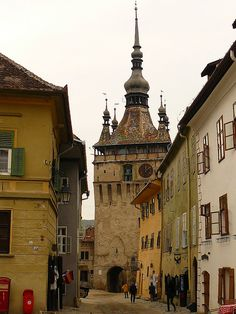 The Clock Tower in Sighisoara, the most well-preserved medieval town in Transylvania, Romania Places Around The World, Oh The Places You'll Go, Travel Around The World, Places To Travel, Places To Visit, Around The Worlds, Central And Eastern Europe, Famous Castles, Medieval Town