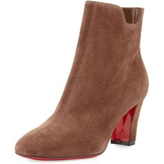 Christian Louboutin Tiagadaboot Suede 70mm Red Sole Bootie ($945) ❤ liked on Polyvore featuring shoes, boots, ankle booties, chatain brown, shoes booties, brown suede ankle booties, brown ankle boots, short brown boots, short suede boots and suede bootie