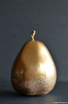Make this beautiful Gilded Glitter Pears with #MarthaStewartCrafts gold gilding, decoupage and glitter! #12MonthsofMartha