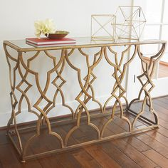 Gold Lattice Mirrored Top Console