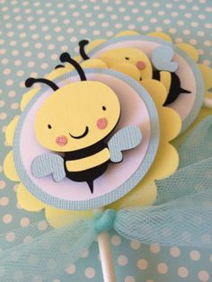 Mommy to Bee Cupcake Toppers Bumble Bee Cupcake by PaperStrip, $14.00