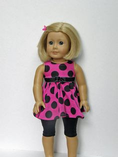 American Girl doll clothes - dress and leggings - 18 inch doll clothes