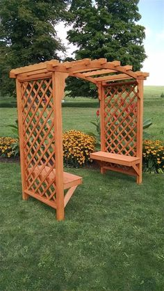 two-bench-seat style arbor with pergola roof - Modern Design Small Garden Arbour, Diy Arbour, Garden Arbor, Garden Entrance, Cheap Landscaping Ideas, Backyard Landscaping, Building A Pergola, Pergola With Roof, Gazebo