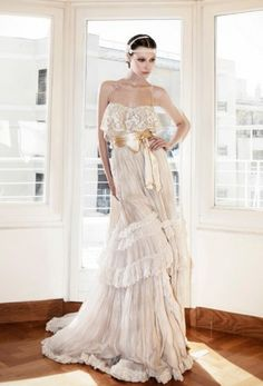 Designer Celia Dragouni ~~ 'Cybele' ~ Silk Chiffon Wedding Gown ♡