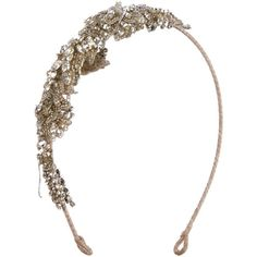Pre-owned Monique Lhuillier Embellished Headband ($245) ❤ liked on Polyvore featuring accessories, hair accessories, gold, head wrap hair accessories, gold headbands, headband hair accessories, gold hair accessories and hair band accessories