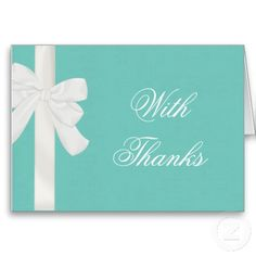 Thank you Ethereal for a simply elegant Monday! Tiffany Blue Party, Blue Gift, White Ribbon, Wedding Designs, Wedding Ideas, Thank You Cards, Your Cards, Personalized Gifts, Create Your Own
