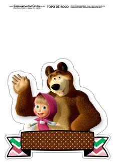 Topo de Bolo Masha e o Urso 3 Bear Birthday, Birthday Diy, Happy Birthday, Masha Et Mishka, Marsha And The Bear, Superhero Alphabet, Theme Mickey, Bear Theme, Bear Party
