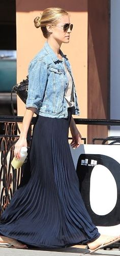 Denim Jacket + Pleated Maxi Skirt...love the length of skirt with jacket...hair looks cute too!