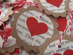 Upcycled shiny red heart and book page tags for Valentine's Day