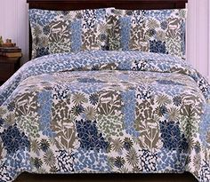 Tropical Hawaiian Blue Green Reversible Quilt Coverlet Set - Vibrant floral pattern for a tropical bedroom bedding bedding Blue Bedding Sets, Blue Comforter, Queen Bedding Sets, Luxury Bedding Sets, Tropical Bedding, Tropical Bedrooms, Coastal Bedding, King Quilt Bedding, Modern Duvet Covers