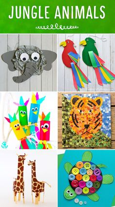Roundup of colorful and fun jungle animals! A great addition to any Jungle or Safari Themed unit! Colorful and fun twirling parrot craft for kids. Great bird craft for a jungle theme unit, fun kids crafts and jungle crafts for kids. Safari Crafts, Jungle Crafts, Farm Animal Crafts, Animal Crafts For Kids, Art For Kids, Zoo Crafts, Animal Activities For Kids, Tiger Crafts, Card Crafts