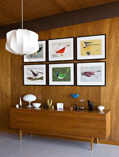 Charley Harper prints • Bitossi bird • Aalto vase • George Nelson pendant light | Corlette and Spackman