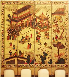 Painted Asian 4 panel screen on wood c1890s              $2250   Currently available at Lucas Street Antiques Dallas Texas