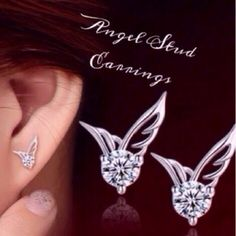 I pair Angel Wing Studs. Color is silver. Beautiful Angel Wings. Please let me know how many pairs you want Jewelry Earrings