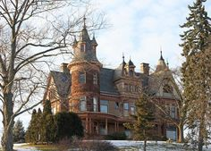 Henderson Castle, Kalamazoo, Michigan - was built in 1895 and is currently a Bed & Breakfast. It's said to be haunted by the original owners, a soldier, a little girl and a dog. Activity includes physical contact, radios blaring even when unplugged, and apparitions.