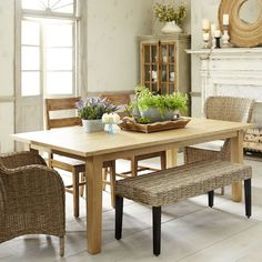 Linen Table Cloths Love Everything About Them Spaces - Natural whitewash dining table