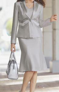 Midnight Velvet Formal Dress Sleek Silver Gray Skirt Suit Career Church Size 16 | eBay Dress Suits, Skirt Suit, Ankle Length Skirt, Gray Skirt, Street Style Women, Mother Of The Bride, Size 16, Peplum Dress, Velvet