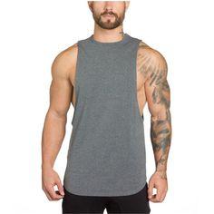 bd873daf1 YeeHoo Men's Fitted Muscle Stringer Vest Cut Open Sides Workout Tank Tops  Gym Bodybuilding T-Shirts
