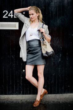 Black leather skirt, white tee.