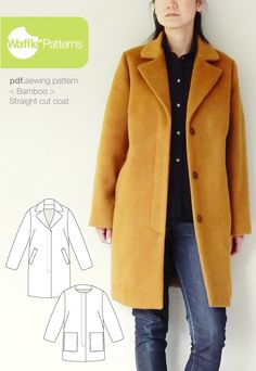 Bamboo Straight Cut Coat by Waffle patterns for golden wool fabric 6c68082863134