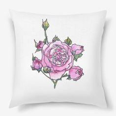 Pink rose flower print