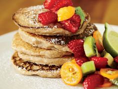 Toasted Coconut Pancakes http://www.prevention.com/food/food-remedies/vegan-recipes-from-mark-bittman/toasted-coconut-pancakes