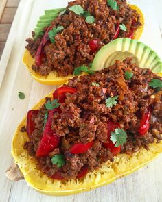Spicy Spaghetti Squash Beef Bowl: pastured ground beef mixed with veggies and spices packed into a squash for a healthy, seasonal presentation. #paleo #healthy #glutenfree | GrokGrub.com