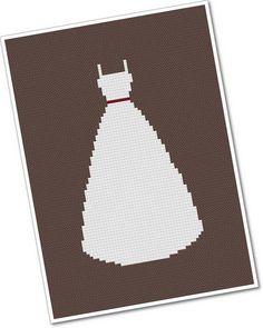 Wedding Dress PDF Cross Stitch Pattern by weelittlestitches, $4.00