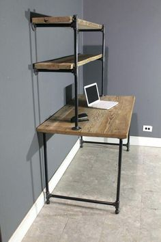 Divine Pipe Computer Desk Design Raw Reclaimed W 2 Shelves By Rustic Industrial Studio Apartment Desks Shelving And Room Metal