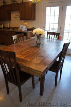 The DIY:: Farm-House Table. Looks gorgeous! Daniel doesn't know it yet but we are going to do this!!!!! :)