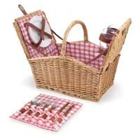 Wicker Picnic Basket - Piccadilly Picnic Basket for 2 - Red and White Plaid - Picnic Time 202-19-114