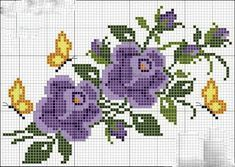 This Pin was discovered by Arz Easy Cross Stitch Patterns, Simple Cross Stitch, Cross Stitch Borders, Cross Stitch Designs, Cross Stitching, Cross Stitch Embroidery, Embroidery Patterns, Hand Embroidery, Butterfly Cross Stitch