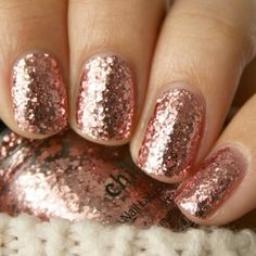 Rose gold sparkly nails