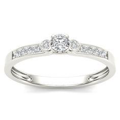 De Couer 10k White Gold 1/5ct TDW Diamond Classic Engagement Ring (H-I, I2) (Size-6.5), Women's, Size: 6.5, White H-I