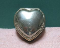 Silver Heart Box Ring Box Valentines Gift Box Engagement Ring Box Lidded Jewelry Box Pink Lined Vintage Maybe Silver Plate Brides Heart