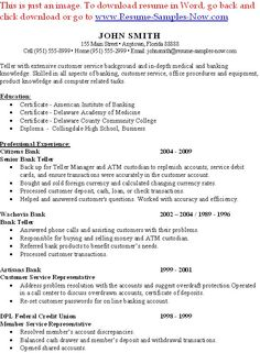 sample of job resume bank teller resume with no experience httptopresume infobank