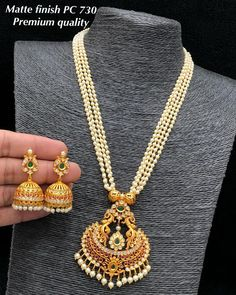 Beautiful long bead haaram with dancing peacock one gram gold pendant. Pearl Necklace Designs, Gold Pearl Necklace, Jewelry Design Earrings, Gold Earrings Designs, Gold Jewellery Design, Pearl Jewelry, Jewelery, Jewelry Bracelets, Silver Jewelry