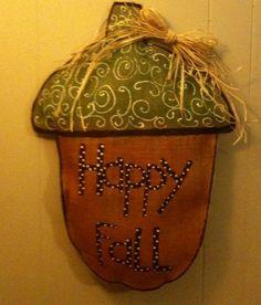 Acorn Burlap Door Hanger