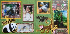 Scrapbook Page - At the Zoo - 2 page animal  layout with a Panda & a Monkey from Everyday Life Album 19