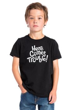BANDIT BRAND Here Comes Trouble Kids Tee in Black & White | REVOLVE