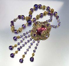 Antique 1920s Amethyst Czech Glass Art Deco Necklace