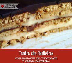 Tarta de Galletas y Chocolate En esta receta te enseño cómo hacer una Tarta de Galletas súper fácil, rápida y deliciosasin horno y con Ganache de Chocolate y Crema Pastelera Vamos a combinar cosas...