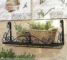 Wrought Iron French Style Wall Flower Pot Plant Holder Rack Window Box 002