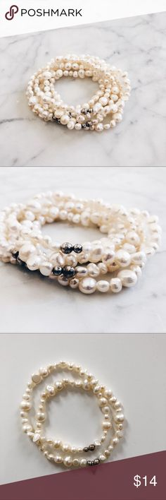 Pearl bracelets, set of seven strands These were a gift years ago so am not sure if faux or real. Appear to be some variety of freshwater pearls. Looks milky white against most backgrounds but seems  to have a bit of a yellow hint depending on the light. Threaded on a stretchy band.  There is one bead that is broken, see last photo. All other strands are in EUC. There are a few silver beads on each strand for a bit of visual interest. One strand has a triangle silver bead that has '825…
